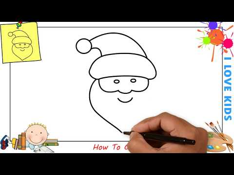 How to draw a santa claus (christmas) EASY step by step for kids, beginners 3