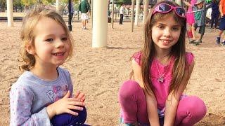 11 KIDS AT THE TRAIN PARK!!! Sisters & Cousins Vacation Pretend Play Jail Prison Park