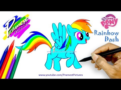 How to Draw Rainbow Dash My Little Pony | Cartoon Coloring Pages for Kids
