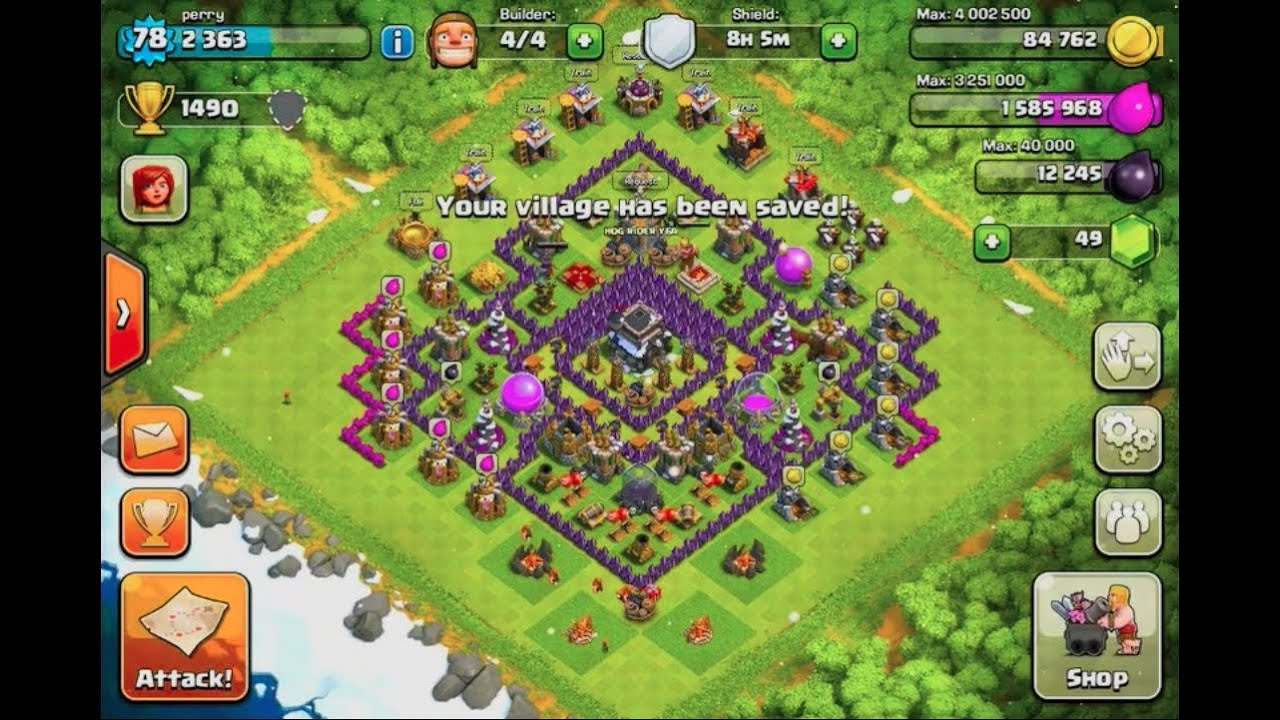 Clash of clans town hall level 9 base design without x bow 10