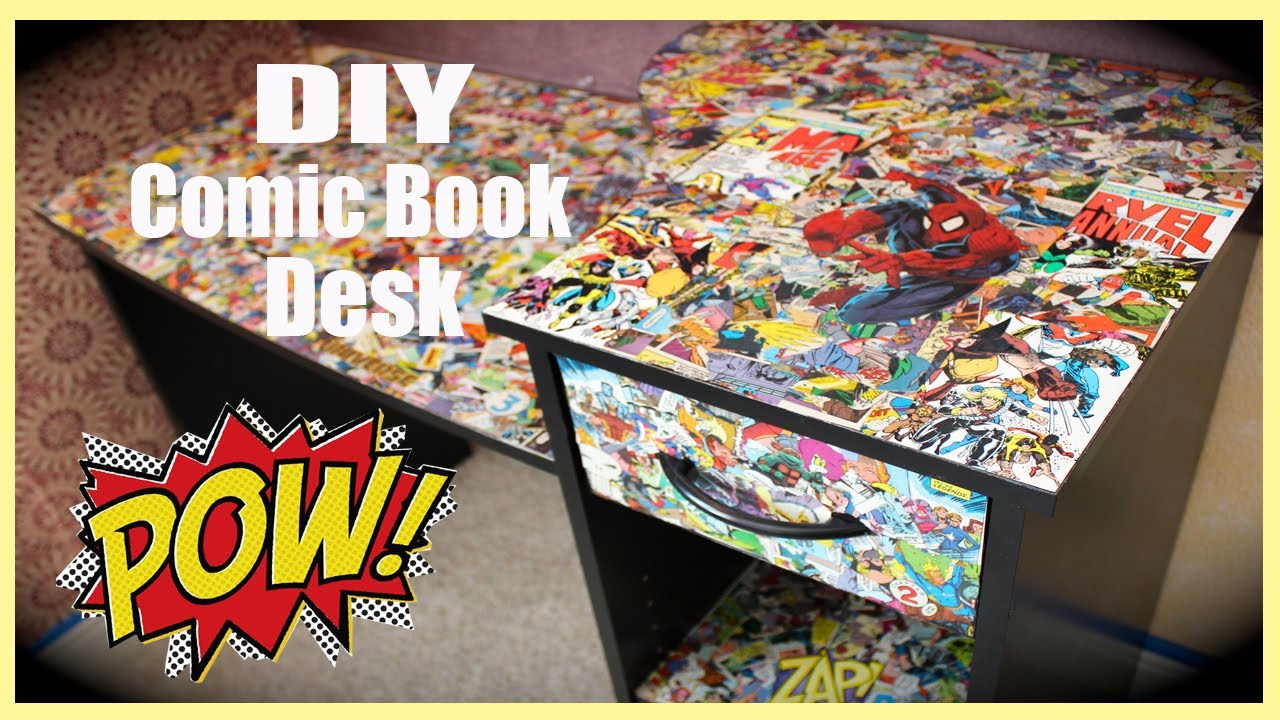 mod podge photo collage ideas - DIY ic Book Desk