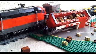 2 Lego trains hitting 1 car - Crash at crossing