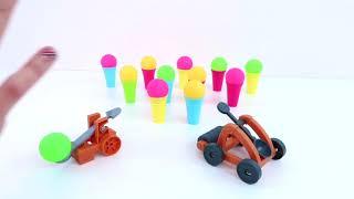 Jugamos a los Bolos con Catapulta y Helados de Colores