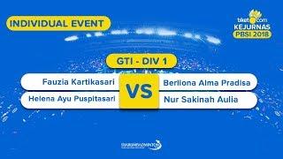 Tiket.com Kejurnas 2018   GTI DIV 1   Fauzia /Helena VS Dinda /Aulia