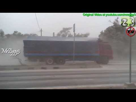 Trucks Crossing Volcano Ash From Kelud Eruption
