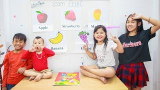 Kids go to School Learn | Chuns learn math and learn the color of the fruit
