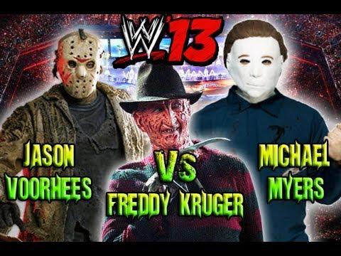Freddy Vs Michael Vs Jason - Fantasy Showdown - WWE '13 ...  Freddy Krueger Vs Jason Vs Chucky Vs Scream Vs Michael