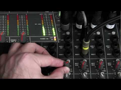 How to set gain on the mixing console