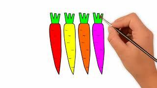 Vẽ củ cà rốt _ Bé học vẽ _ Vẽ gia đình gà