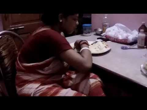 Indian House Wife Eating Rice In Dinning Table video