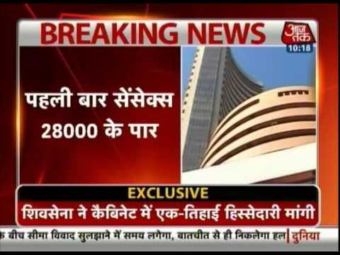 Sensex scripts history; crosses 28,000 mark