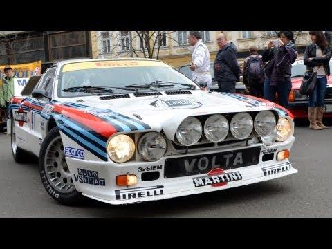 Lancia 037, Lancia Stratos & Lancia Delta in Prague Center. Incredible sound!
