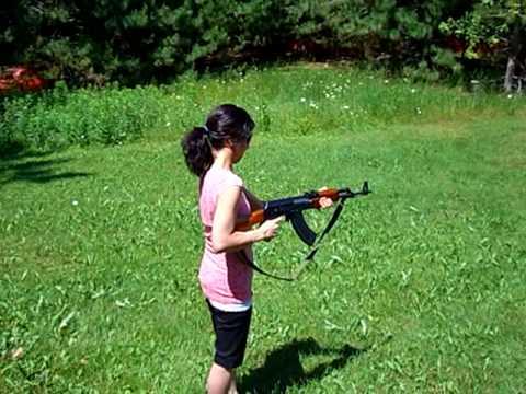 Melissa shooting my AK again