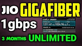 Reliance Jio GigaFiber with Free Unlimited 1Gbps Connection for 3 Months100Mbps Speed