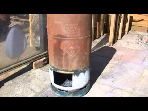 Rocket stove heater built in firebox.