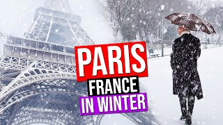 PARIS IN WINTER under the SNOW | France (Snowfall in Paris)