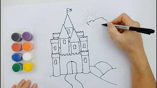 How to drawing Castle | Learn Colors with Drawing Coloring Castle for Kids Colors for Children