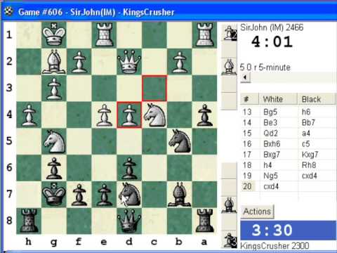Chess World.net:  Blitz #364 vs. IM SirJohn (2466) - King's Indian: fianchetto without c4 (A49)