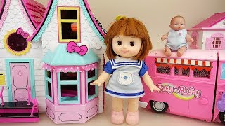 Baby doll Kitty house and camping bus car toys baby Doli play