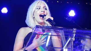 Lady Gaga Singing the National Anthem @ the NYC Pride Rally 2013