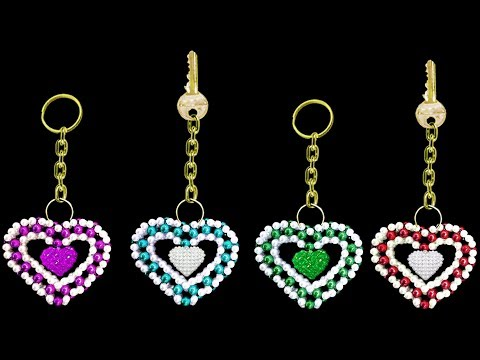 How To Make Keychains At Home ||  UNIQUE Key chain || Crystal Beads Keychain || ♥Heart♥ Shape