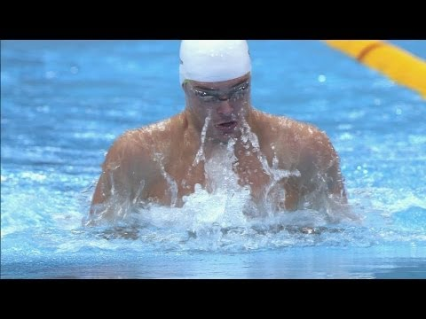 Highlights of the Men's 100m Breaststroke Semi-Finals during the London 2012 Olympic Games. Cameron van der Burgh qualifies fastest for the final of the Men'...