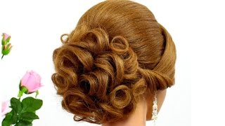 Curly updo for wedding. Hairstyle for medium hair