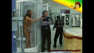 Naked and Funny. Surprise in a hardware store