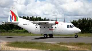 Pelita Air Service PK-PCT Casa C212-200 sunny takeoff from Domine Eduard Osok Airport in Sorong