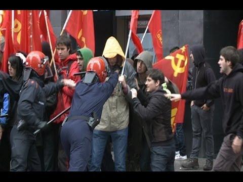 Incidentes aislados en huelga general de Bilbao