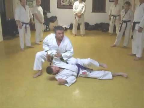 Tom hills dojo  goju karate  knife attack to face using age uke counter