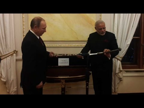 Vladimir Putin gifts PM Modi Gandhi's Notes, 18th Century Sword