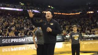 New Missouri coach Barry Odom at halftime of basketball