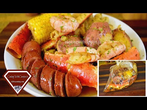 BAKED SMOKY CRAB LEGS & SHRIMP W/ POTATOES, SAUSAGE & CORN |Cooking With Carolyn