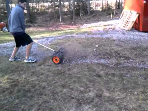 Power Broom Cleaning Up Small Rocks Youtube