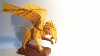 How to fold Origami Gryphon 摺紙獅鷲教學 [32x32 Box-pleating] ( Kade Chan )