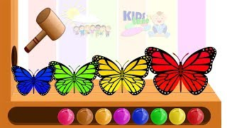 Learn Colors With Animal Butterfly WOODEN FACE HAMMER XYLOPHONE Toddlers Soccer Balls For Kids