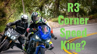 2019 Yamaha R3 gets left behind on straights by a Liter bike but catches up in the corners.
