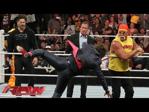 Arnold Schwarzenegger And Joe Manganiello Join Hulk Hogan In The Ring: Raw, March 24, 2014 video