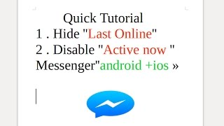 How to Disable Last Active / Active Now on Messenger facebook mobile