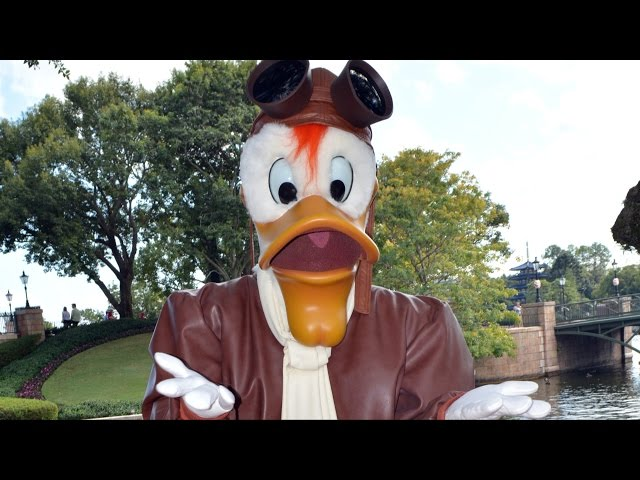 Launchpad McQuack Makes Rare Appearance at Epcot; Shows Us How to Fly - Walt Disney World