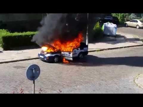 Pożar radiowozu Szczecin