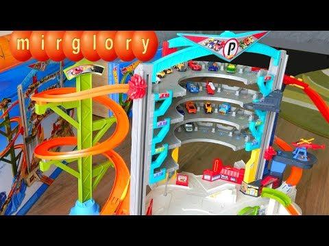 Машинки Трек Хот Вилс Гараж. Мультики для детей про игрушки Машинки для мальчиков mirglory