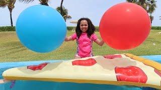 Giant Balloon Challenge Surprise Toys Pool Party - Shopkins - Superhero Ooshies - Disney Toys