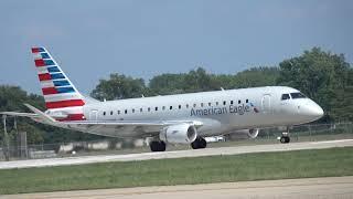 American Eagle Embraer 175 Take off Springfield Illinois 7-18-19