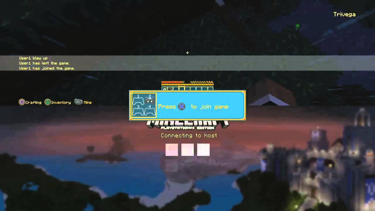 Minecraft on ps4 couch co op 1 ps4 upgrade youtube for Couch coop ps4