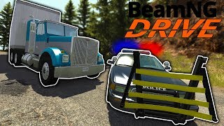 Police Use Wheel Grabber to Disable Diesel! - BeamNG Gameplay & Crashes - Cop Escape