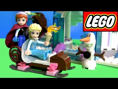Lego Disney Frozen Elsa's Sparkling Ice Castle Review 41062 ❤ With Princess Anna & Olaf In Sleigh video