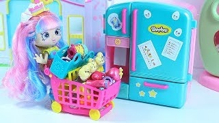 Toy Refrigerator and Supermarket Dolls play Video for kids