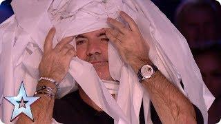 Marty Putz covers Simon Cowell in toilet roll!   Auditions Week 1   Britain's Got Talent 2018